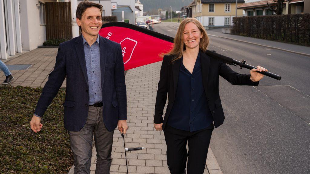 SP-Präsidentin Karin Schwiter und alt-Präsident Andreas Marty
